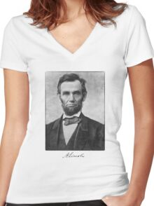 Abraham Lincoln Women's Fitted V-Neck T-Shirt