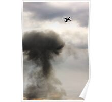 A-10 over explosion cloud Poster