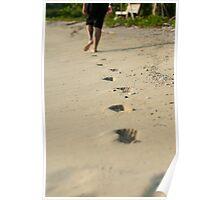 Person walking away across a beach Poster