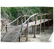Rustic wooden pedestrian bridge Poster