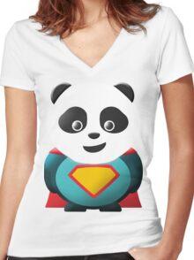 Super Panda Series  - 2 Women's Fitted V-Neck T-Shirt