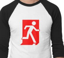 Emergency Exit Sign, with the Running Man Men's Baseball ¾ T-Shirt
