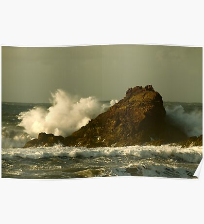 Power of the Wave -  Trevone Bay Poster