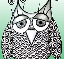 Green Zentangle Owl by AlyssaKayArt