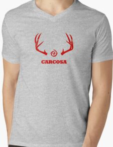 True Detective - Carcosa Antlers - Red Mens V-Neck T-Shirt