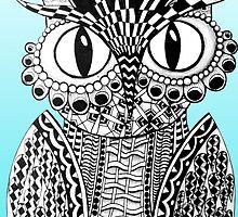 Dazzling Blue Owl by AlyssaKayArt