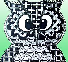 Mint Green Zentangle Owl by AlyssaKayArt
