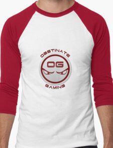 Obstinate Gaming (Maroon Text) Men's Baseball ¾ T-Shirt
