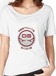 Obstinate Gaming (Maroon Text) Women's Relaxed Fit T-Shirt