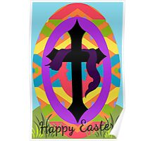 Happy Easter Egg and Cross Poster