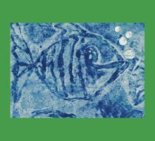 The Blue Fish Monoprint with Collage Kids Tee