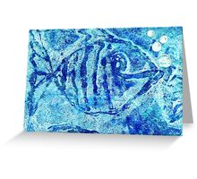 The Blue Fish Monoprint with Collage Greeting Card