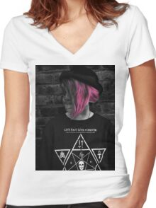 Goth Girl Women's Fitted V-Neck T-Shirt