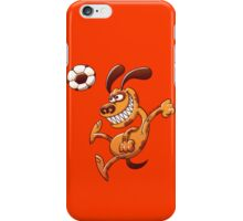 Brave dog heading a soccer ball iPhone Case/Skin