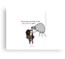 helo would u like some hot choclety mink Canvas Print