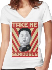 Kim Jung Un wants your respect. Women's Fitted V-Neck T-Shirt