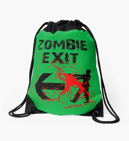 ZOMBIE EXIT SIGN by Zombie Ghetto Drawstring Bag