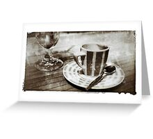 Coffee and beer at French café Greeting Card
