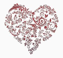 vintage red heart heart and flowers by elgreko