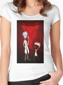 Rick and Morty, Invader Zim mashup Women's Fitted Scoop T-Shirt