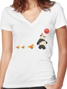 Cute Panda and Ducks Women's Fitted V-Neck T-Shirt