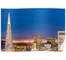 san francisco buildings by night Poster