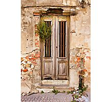 Dilapidated Brown Wood Door of Portugal Photographic Print