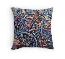 Colorfull bicycles Throw Pillow