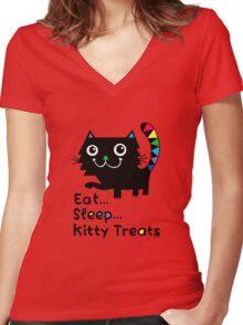 Eat, Sleep, Kitty Treats  Women's Fitted V-Neck T-Shirt