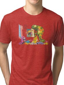 Chameleon in a changing room! Tri-blend T-Shirt
