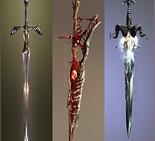 Video Game Sword Triptych by JackKaiser