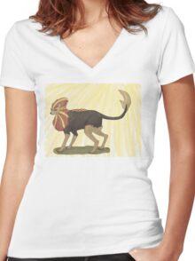 pyroar using sunshine  Women's Fitted V-Neck T-Shirt