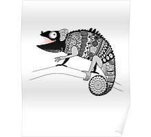 graphic ornamental chameleon Poster