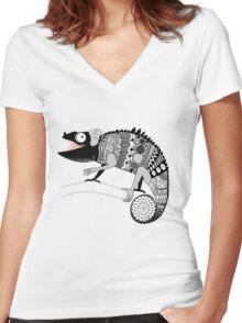 graphic ornamental chameleon Women's Fitted V-Neck T-Shirt