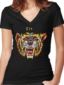 510 - Tiger Women's Fitted V-Neck T-Shirt
