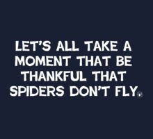 Let's take a moment to be thankful that spiders don't fly Kids Clothes