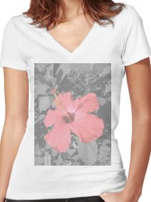 Pink Flower Women's Fitted V-Neck T-Shirt