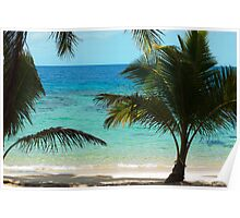 Blue ocean and palm trees Poster