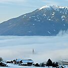 Church-steeple in the mist by Arie Koene