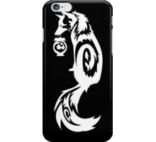 White Fox Kitsune Tribal with Spirit Lantern iPhone Case/Skin