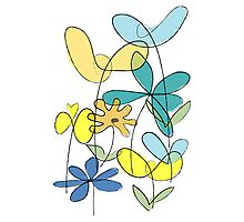 Simple line flower - bunch 1 Photographic Print