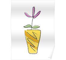 Simple line flowerpot - yellow & orange Poster
