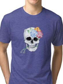 flowers entwining with skull  Tri-blend T-Shirt