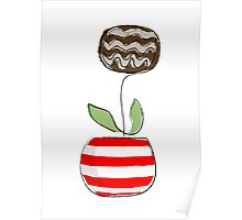 Simple line flowerpot - red & white Poster