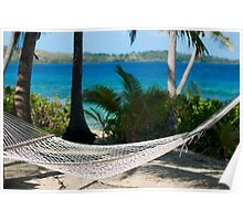 Empty hammock at a tropical beach Poster