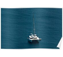 Catamaran moored offshore Poster