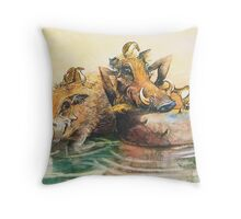 Happy in the water Throw Pillow
