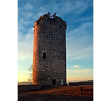 The tower of Waxenberg castle in the sunset | architectural photography Photographic Print