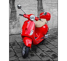 Red Vespa - Scooter Photographic Print