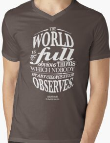 Sherlock Holmes novel quote – obvious things Mens V-Neck T-Shirt